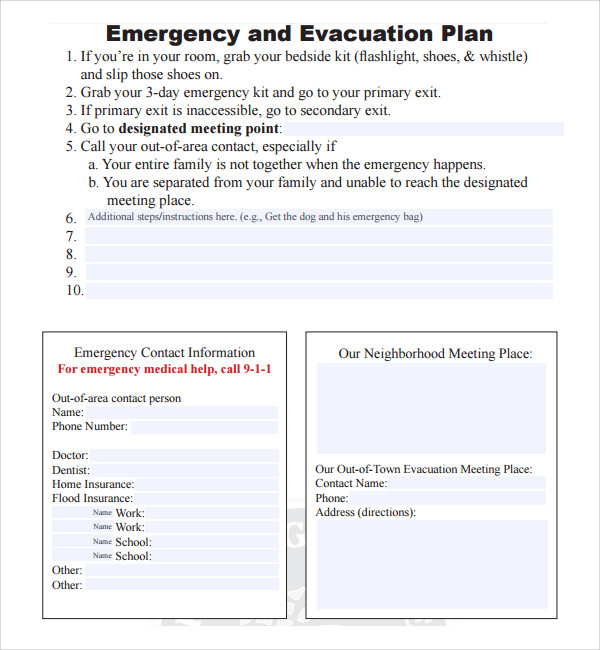 Sample Evacuation Plan Template 9 Free Documents In Pdf
