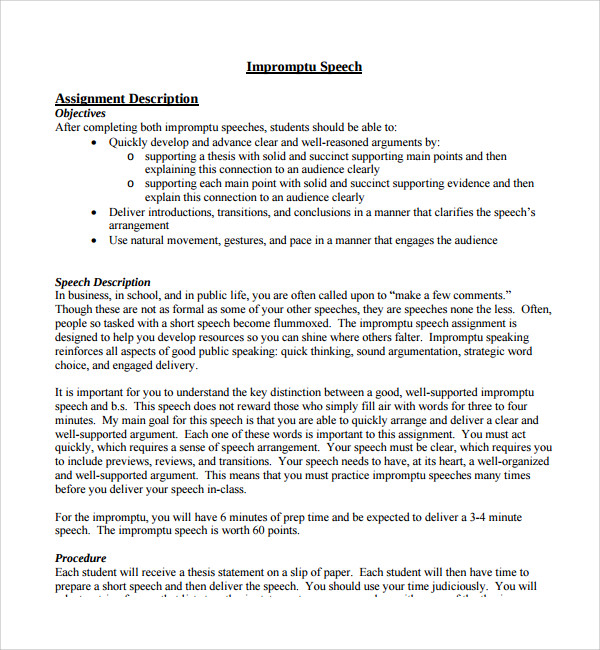 Sample Impromptu Speech Template 7 Free Documents in PDF Word – Figure of Speech Example Template