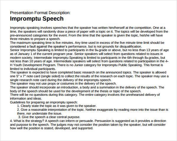 Impromptu speech examples