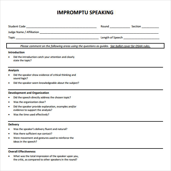 Sample Impromptu Speech Template   Free Documents In Pdf Word