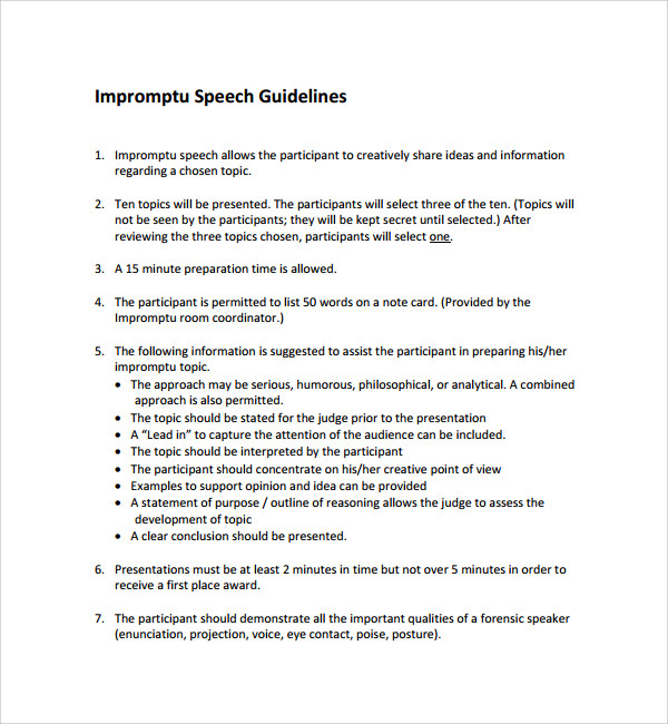 sample impromptu speech template - 7+ free documents in pdf, word, Powerpoint templates