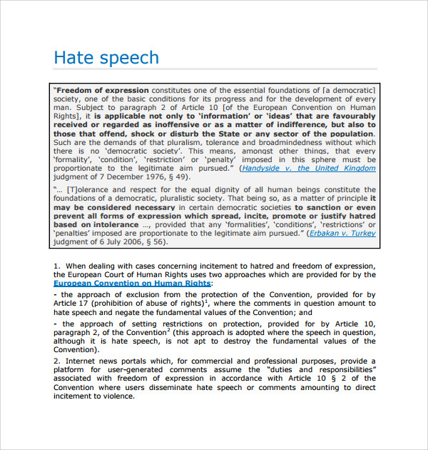 Hate Speech Essay  BesikEightyCo