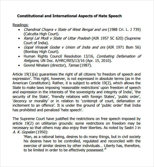 Sample Hate Speech Examples Template   Free Documents In Pdf Word