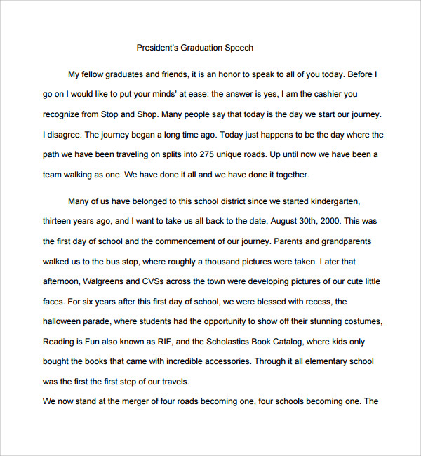 sample graduation speech example template