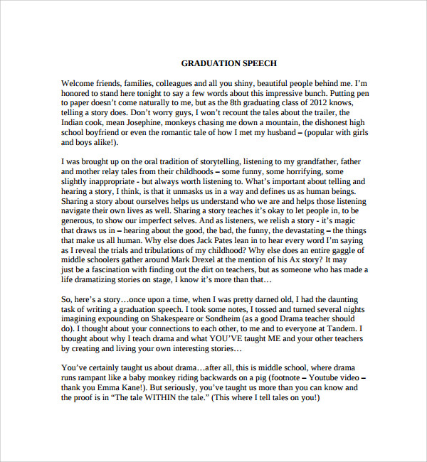 Graduation Speech Example Template Sample Graduation Speech Example