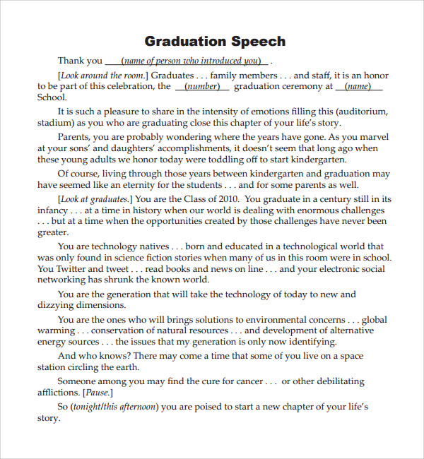 Sample Graduation Speech Example Template   Free Documents In