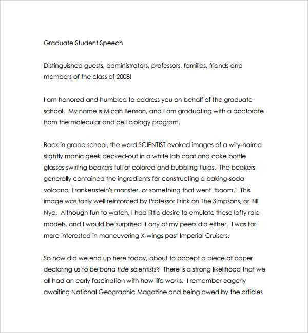 example of graduation speech template
