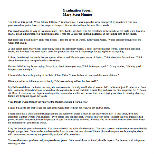 Sample graduation speech example template 10 free for Valedictorian speech template