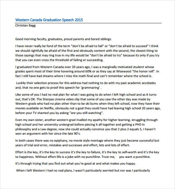 simple graduation speech template