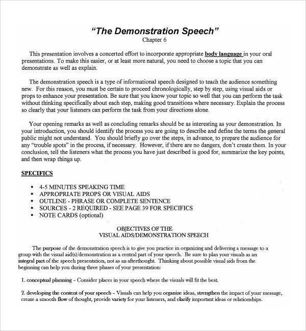 Sample Demonstration Speech Example Template - 8+ Free Documents