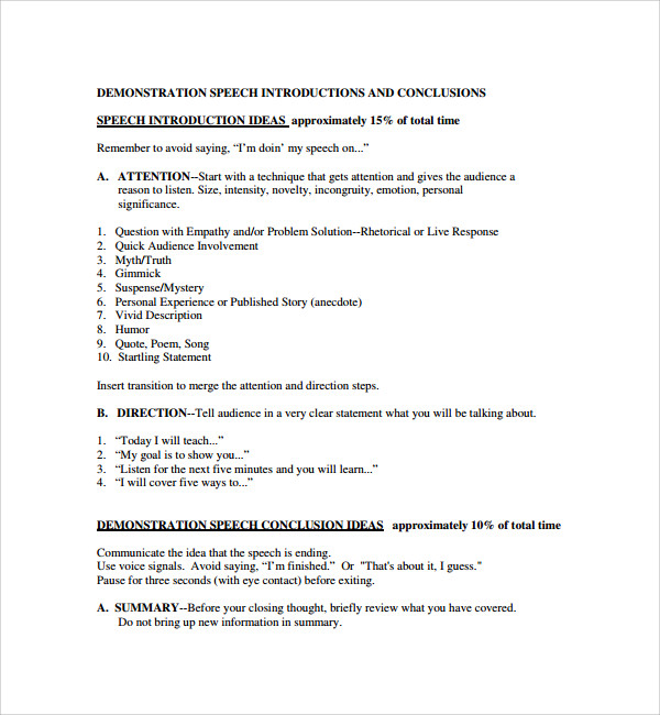 Demonstration essay outline