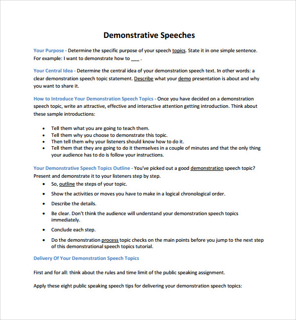 demonstrative speech outline Demonstration speech outline how to make easy and quick fruit salad i introduction a attention getter fruit salad a wonderful refreshment with health.