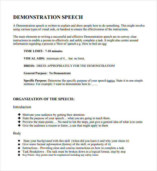 Sample Demonstration Speech Example Template   Free Documents
