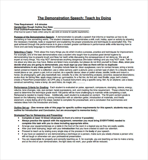 Sample Demonstration Speech Example Template   Free Documents In