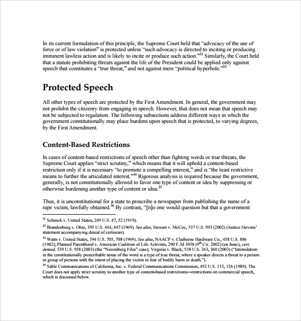 Sample Freedom Of Speech Example Template - 7+ Free Documents