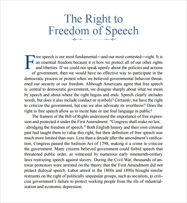 8 Freedom Of Speech Example Templates Sample Templates