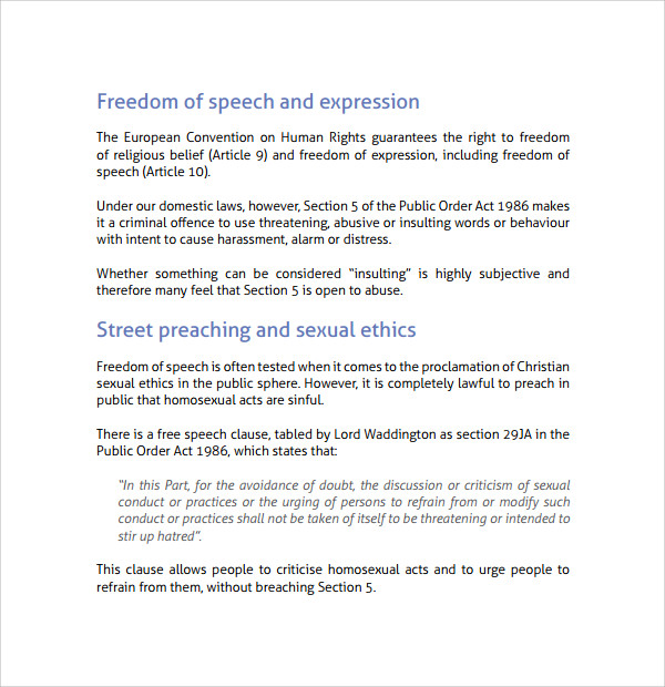Sample Freedom Of Speech Example Template   Free Documents