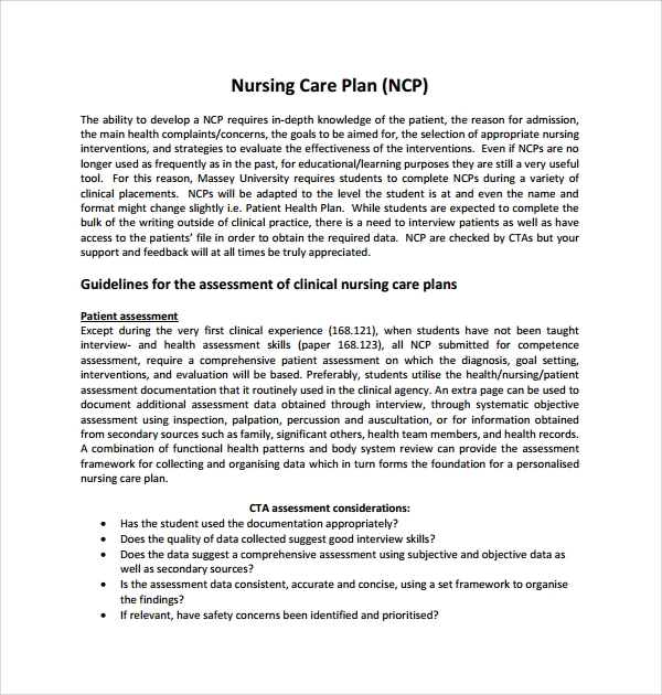 12 care plan templates sample templates for Nursing care plan format template