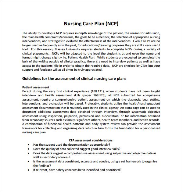 sample care plan template