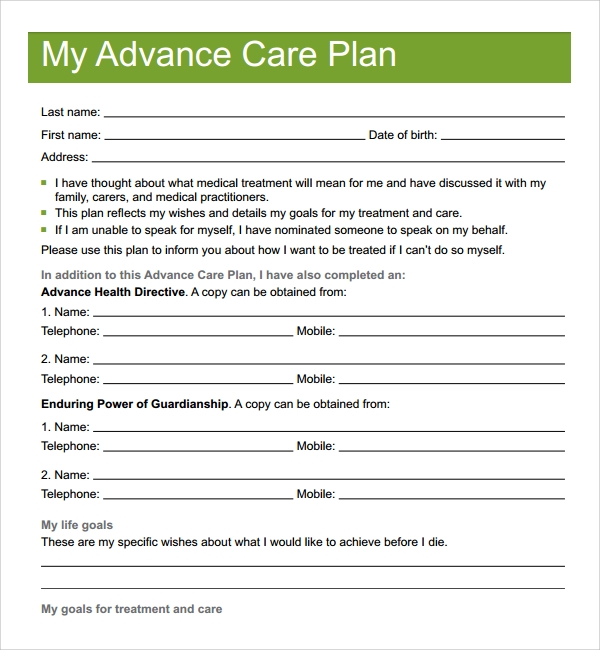 sample care plan template 9 free documents in pdf word With advance care plan template