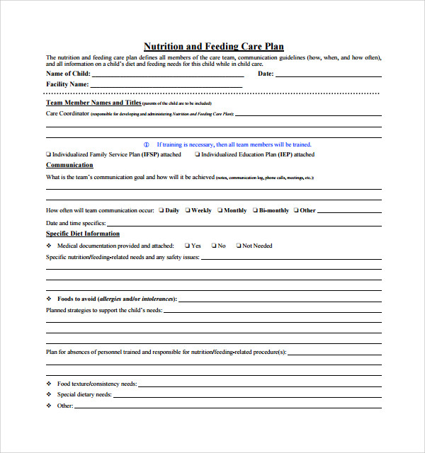 nutrition and feeding care plan