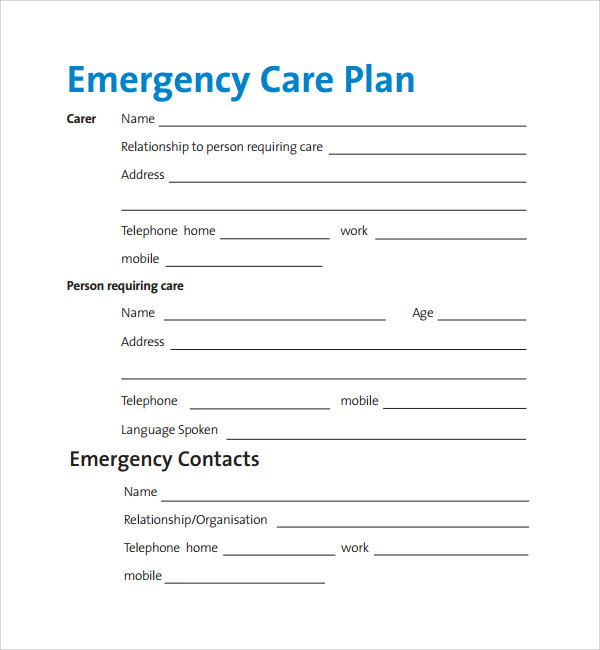 Sample Care Plan Template   Free Documents In Pdf Word