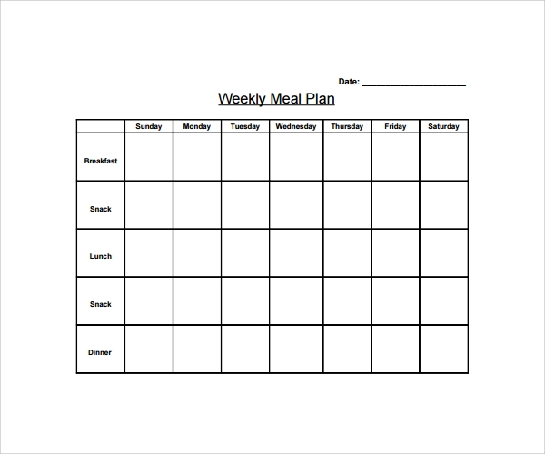 Sample Weekly Meal Plan Template 9 Free Documents in PDF Word – Weekly Meal Plan Template