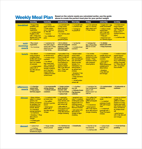simple weekly meal plan template%ef%bb%bf
