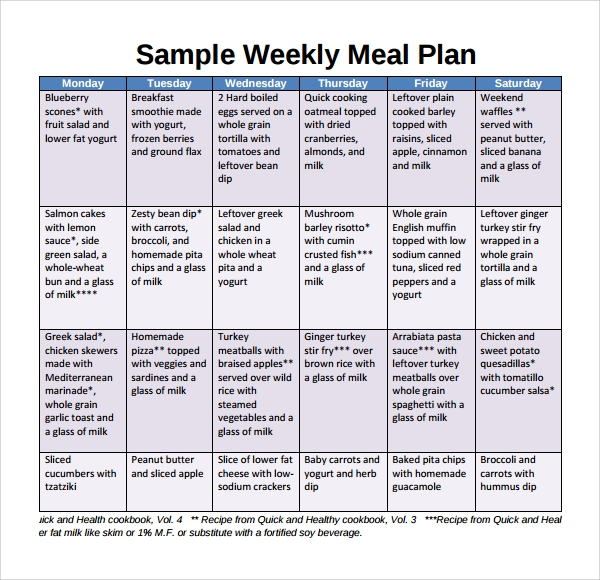 Sample Weekly Meal Plan Template   Free Documents In Pdf Word