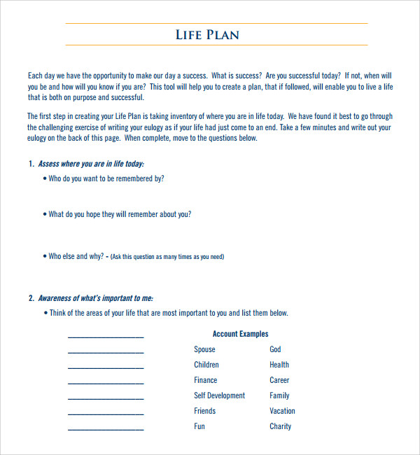 sample life plan template 8 free documents in pdf