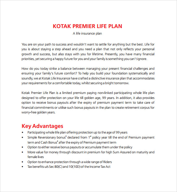 Sample Life Plan Template   Free Documents In Pdf