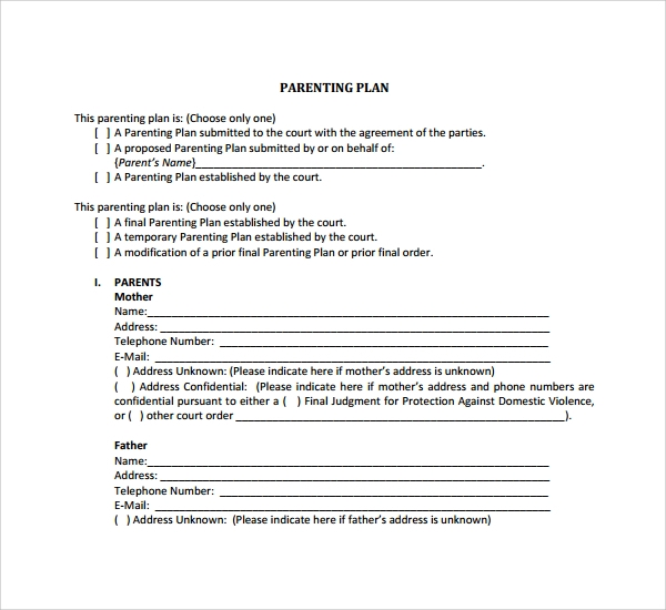 Sample Parenting Plan Template   Free Documents In Pdf