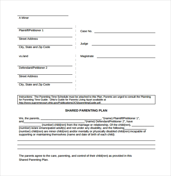 simple parenting plan template