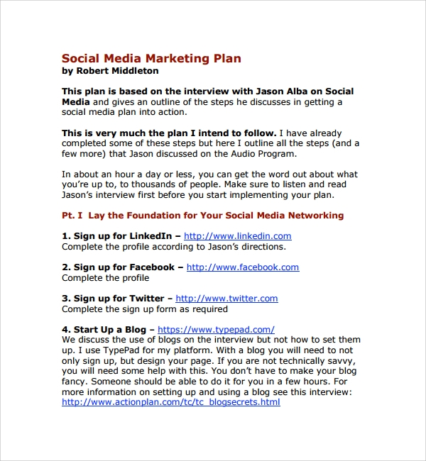 Sample Social Media Plan Template   Free Documents In Pdf