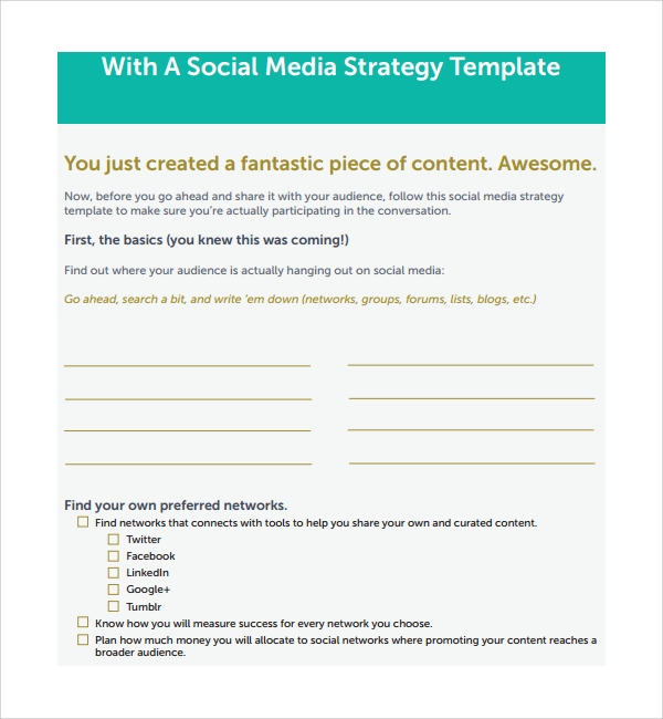Social Media Plan Templates Sample Templates - Facebook media plan template