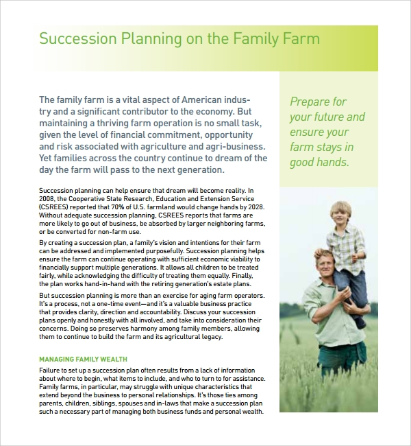 10 succession planning templates sample templates for Farm succession planning template
