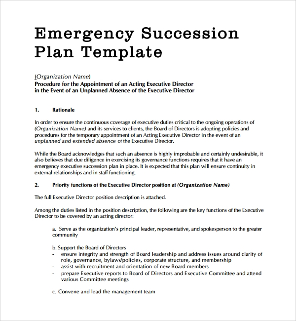 10 succession planning templates sample templates for Management succession plan template