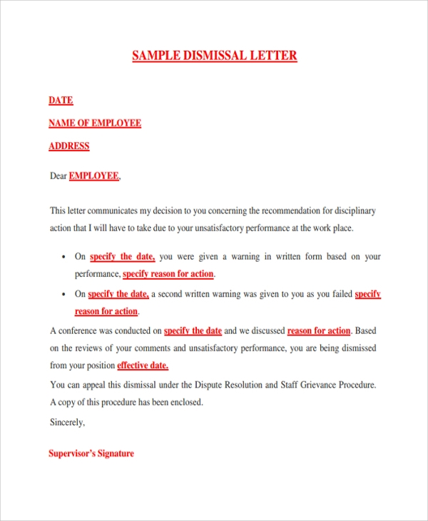 Sample Dismissal Letter Template 9 Free Documents