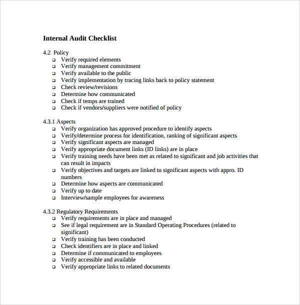internal audit checklist template%ef%bb%bf