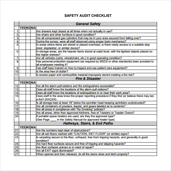 Sample Audit Checklist Template 8 Free Documents in PDF – Audit Templates