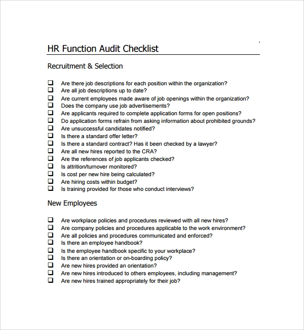 hr audit checklist template