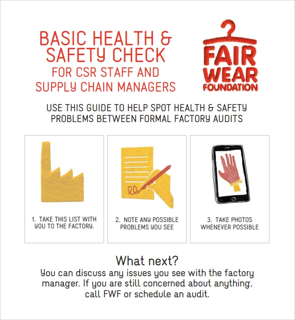 health and safety audit checklist