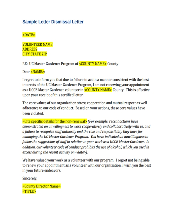 Sample Dismissal Letter Template - 9+ Free Documents Download in ...