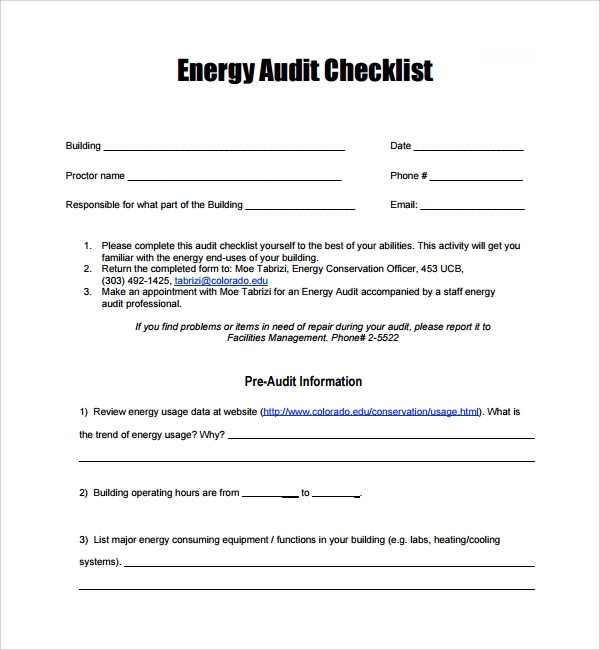 energy audit checklist template