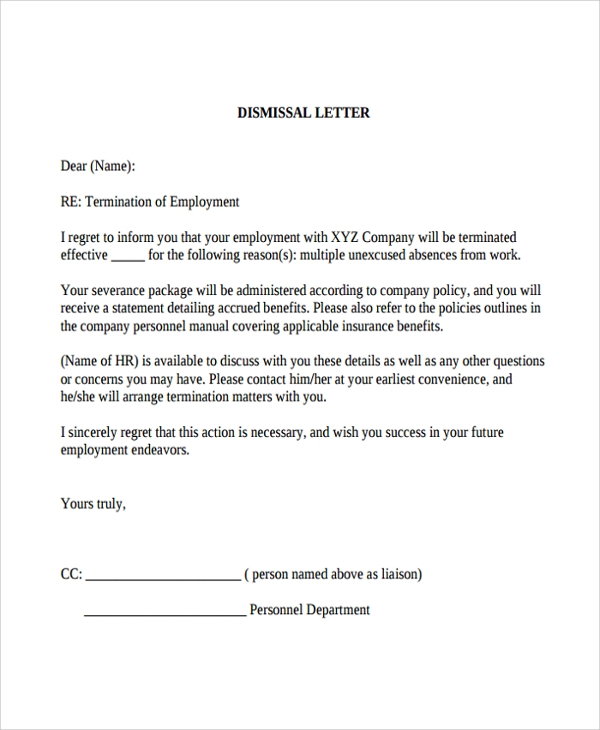 Sample Dismissal Letter Template 9 Free Documents Download in – Termination Letter Templates