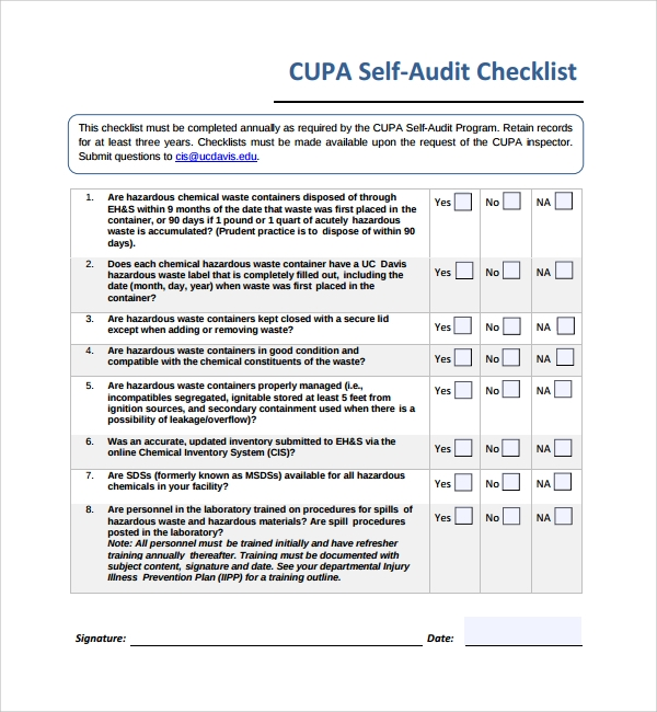 Sample Audit Checklist Template 8 Free Documents in PDF – Audit Form Templates