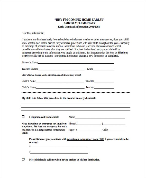 student early dismissal letter