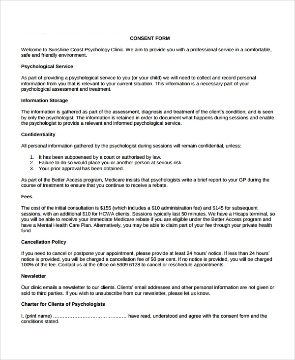 Sample Psychology Consent Form   Free Documents Download In Pdf Word
