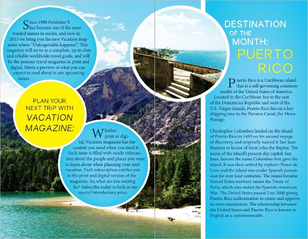 attractive vacation brochure