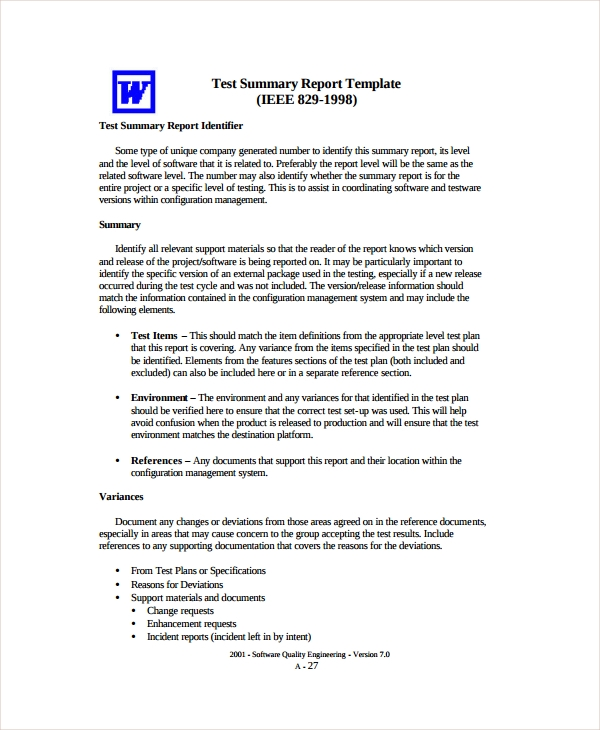 test summary report templates